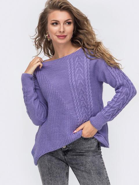 Свитер фиолетового цвета с асимметричным низом 50174, фото 1