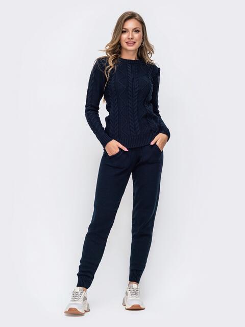 Вязаный комплект-двойка из джемпера и брюк тёмно-синий 50181, фото 1