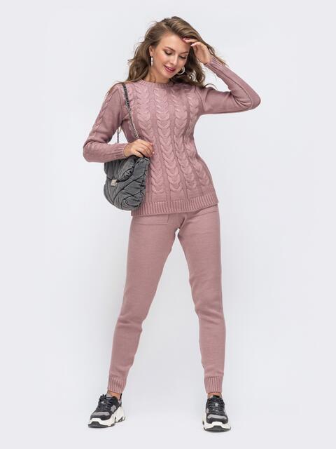 Вязаный комплект розового цвета из джемпера и брюк 50183, фото 1