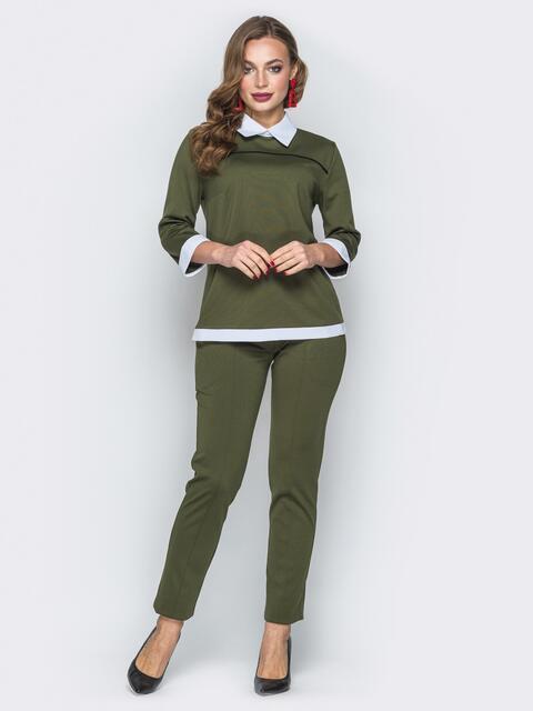 Комплект цвета хаки с имитацией рубашки на кофте 19405, фото 1