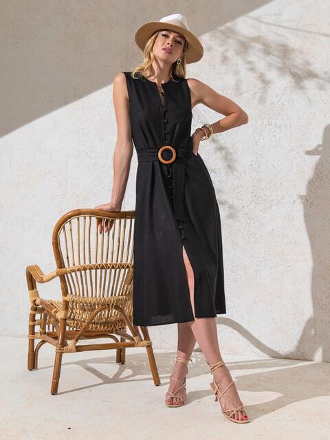 Приталенное платье из чёрного льна на пуговицах  49158, фото 1