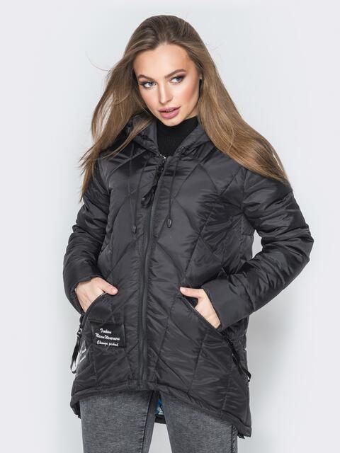 Черная куртка с капюшоном и нашивками спереди 20227, фото 1