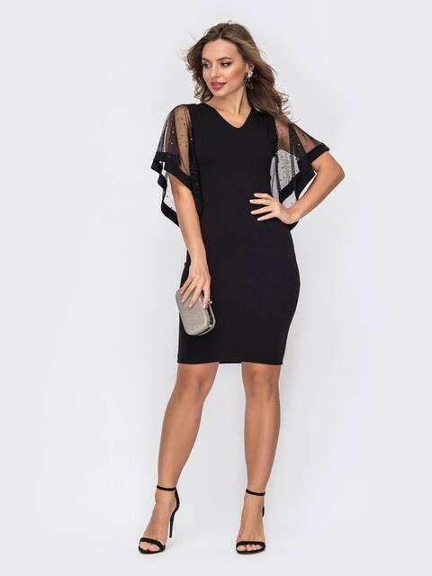 Чёрное платье с рукавами со стразами 52327, фото 1