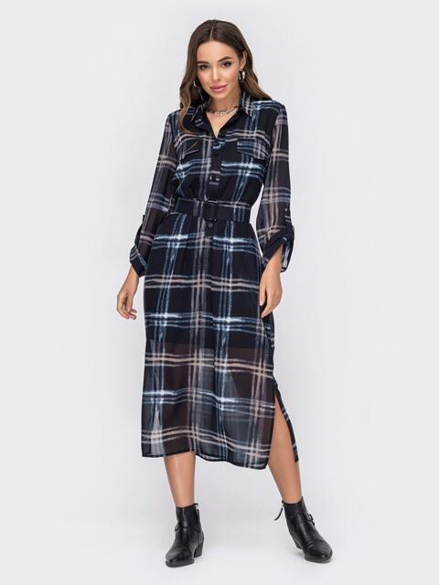 Черное платье-рубашка в клетку с разрезами по бокам 52971, фото 1
