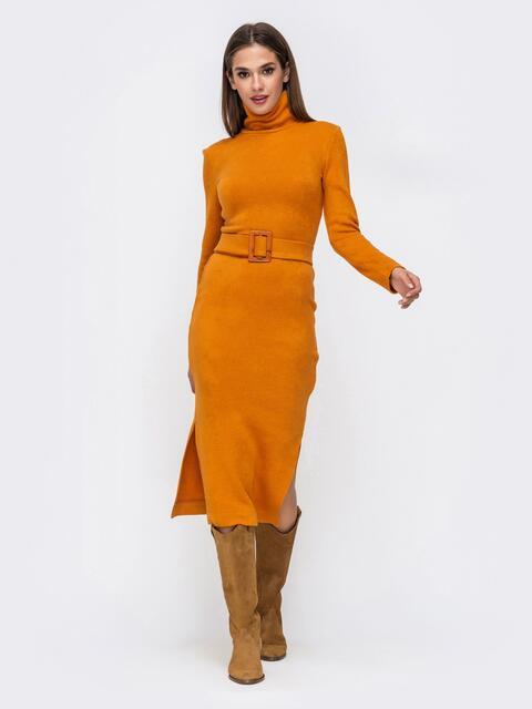 Платье-гольф терракотового цвета из мягкой ангоры 41734, фото 1