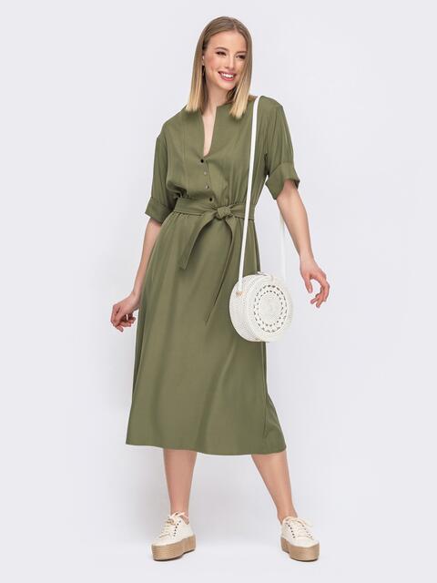 Платье с расклешенной юбкой и резинкой по талии хаки 45640, фото 1