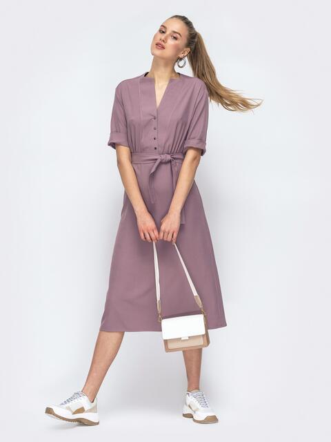 Платье с расклешенной юбкой и резинкой по талии розовое 45637, фото 1