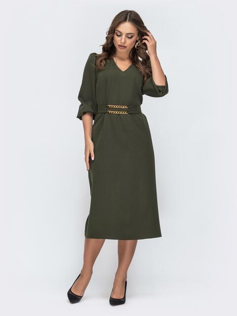 Платье с v-вырезом и рукавом-фонарик цвета хаки 45081, фото 1