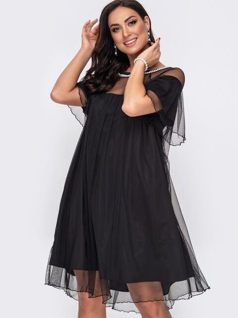 Свободное платье батал с жемчужинами по вырезу чёрное 52155, фото 1