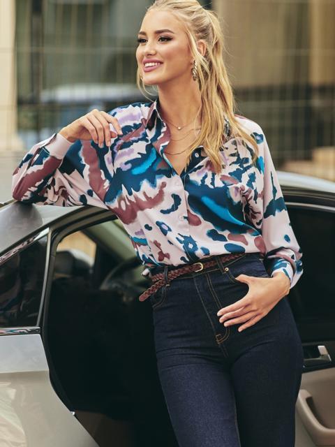 Розовая блузка с принтом на пуговицах 54635, фото 1