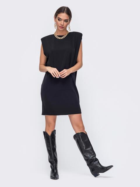 Короткое платье черного цвета с подплечниками 52381, фото 1