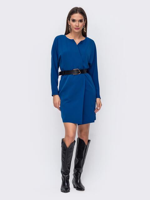 Короткое платье синего цвета с цельнокроеным рукавом 52377, фото 1