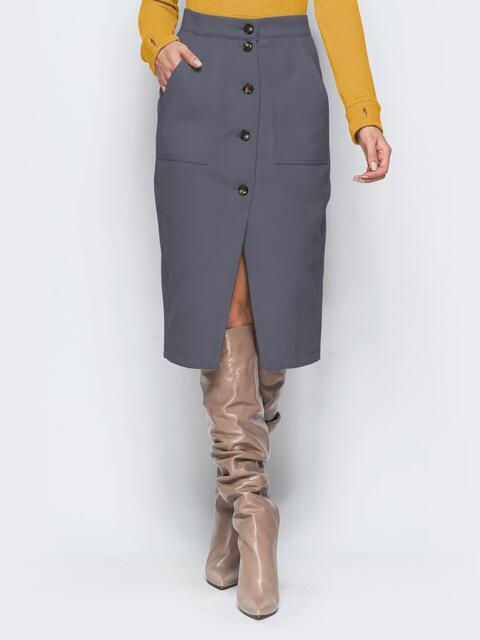 Прямая юбка серого цвета из кашемира 41507, фото 1