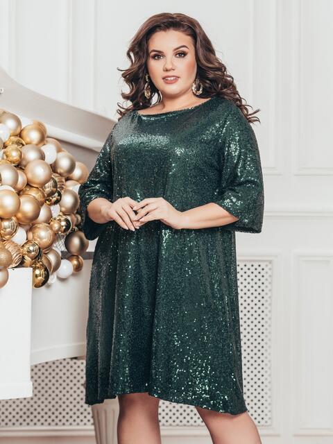 Зелёное платье батал с пайетками и удлиненной спинкой 43280, фото 1