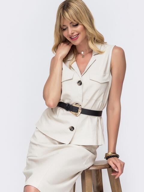Льняная блузка с накладными карманами бежевая 49108, фото 1