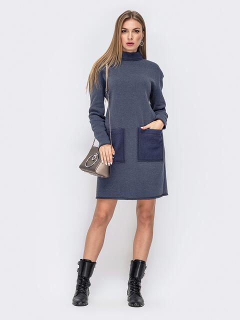 Платье-туника серо-синего цвета с воротником-стойкой 41234, фото 1