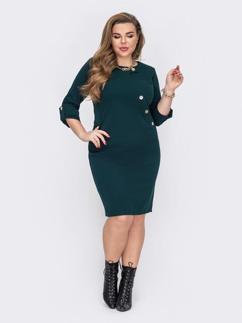 Приталенное платье с декоративными пуговицами зеленое 53245, фото 1
