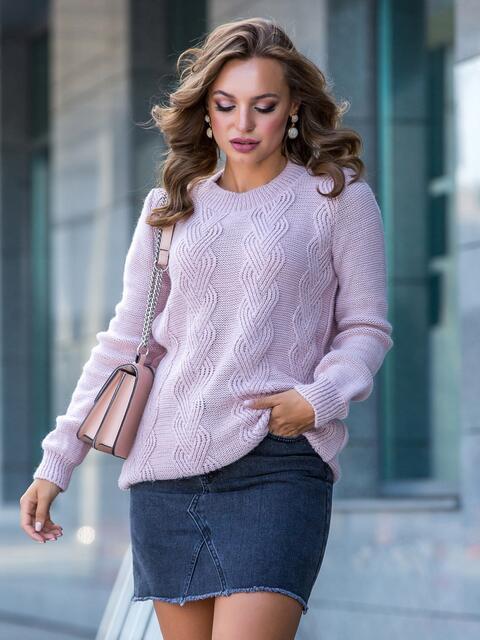 Ажурный свитер с резинкой на манжетах пудровый 41172, фото 1