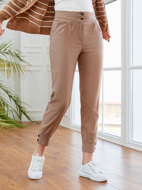 Бежевые брюки с завышенной талией 53550, фото 1