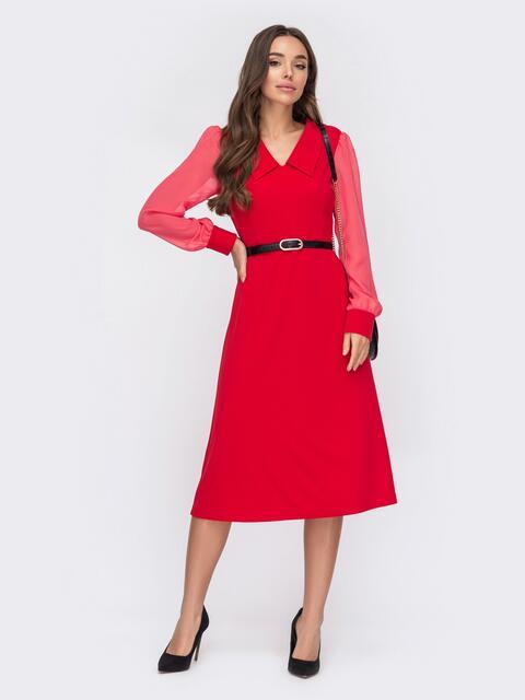 Красное платье с рукавами из шифона и воротником «челси» 52973, фото 1