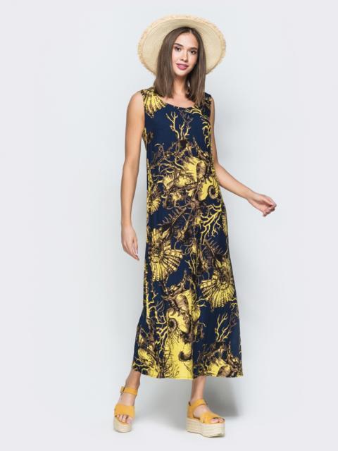 Приталенное платье-макси с принтом тёмно-синее 38541, фото 1