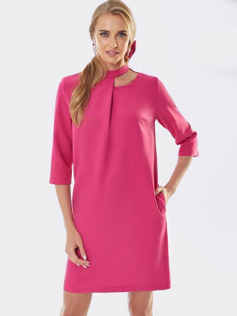 Розовое платье со складкой и фигурным вырезом горловины 52972, фото 1