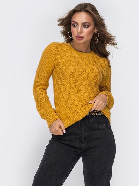 Ажурный свитер из шерсти с акрилом горчичного цвета 42327, фото 1