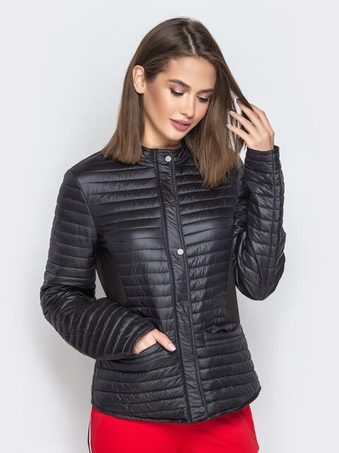 Чёрная куртка с велюровыми вставками и карманами 20303, фото 1