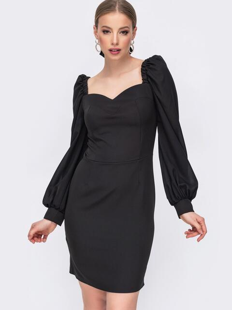 Чёрное платье-футляр с фигурным вырезом 45676, фото 1