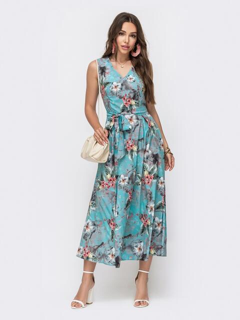 Длинное платье с принтом и расклешенной юбкой голубое 49344, фото 1