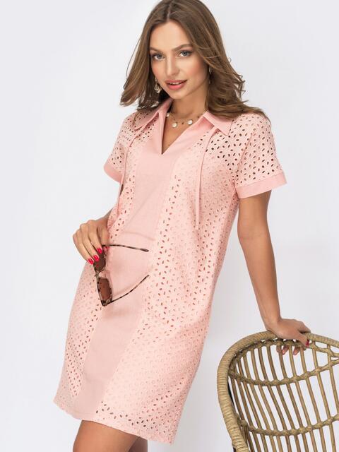 Короткое платье-трапеция из прошвы розовое 53995, фото 1
