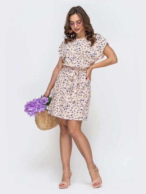 Пудровое платье-мини с принтом бабочки 46922, фото 1