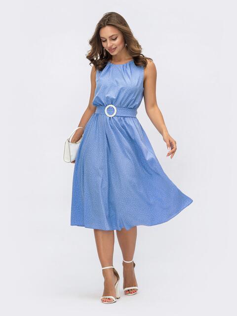 Расклешенное платье в горох с напуском по талии голубое 54137, фото 1