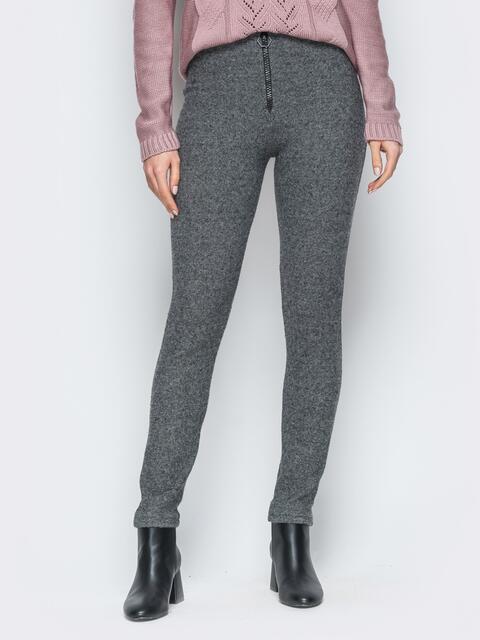 Серые брюки-скинни с высокой посадкой 18875, фото 1