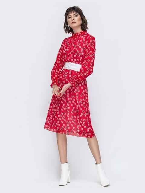 Шифоновое платье с принтом и резинкой по талии красное 45061, фото 1