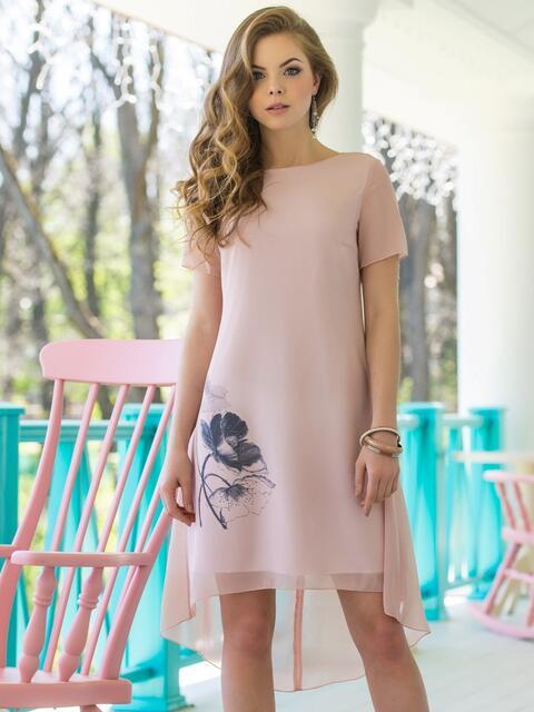 Двухслойное платье из шифона с подкладкой из трикотажного полотна 11638, фото 1
