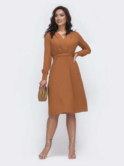 Оранжевое платье батал с отложным воротником и карманами 49981, фото 1