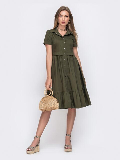 Платье-рубашка с расклешенной юбкой цвета хаки 49622, фото 1