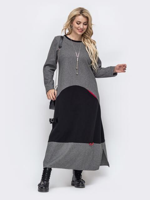 Свободное платье-макси большого размера серое 50983, фото 1
