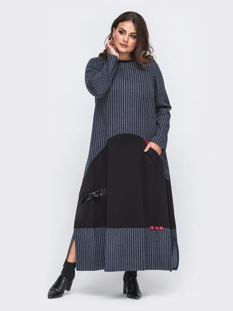 Свободное платье-макси большого размера синее 50982, фото 1