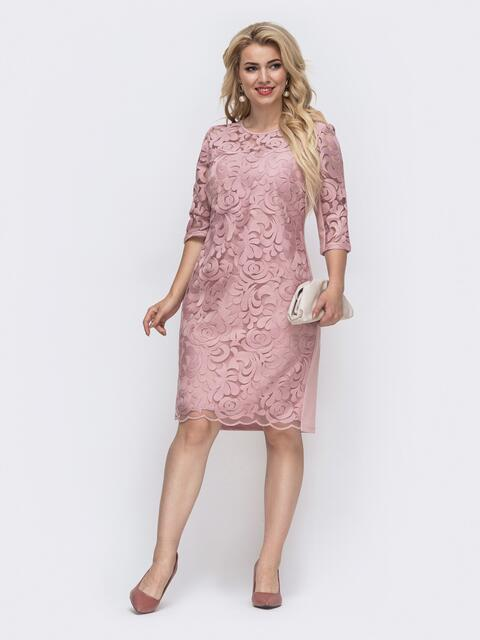 Вечернее платье батал приталенного кроя розовое 50985, фото 1