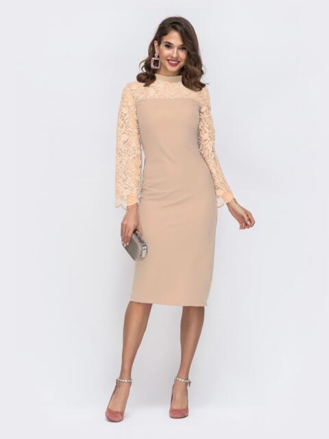 Бежевое платье с рукавами и кокеткой из сетки с узором 42777, фото 1