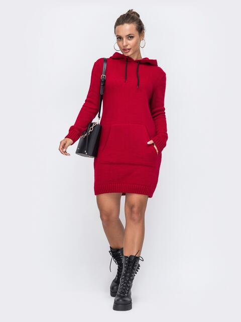 Красная вязаная туника с капюшоном и карманом спереди 50401, фото 1