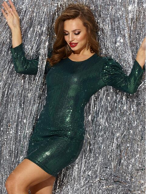 Платье-миди из трикотажа с пайетками зелёного цвета 42781, фото 1