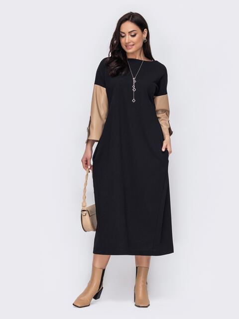Приталенное платье батал с рукавами из эко-кожи черное 52779, фото 1