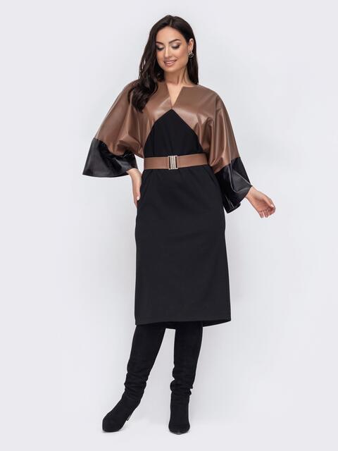 Свободное платье батал с рукавами из эко-кожи черное 52778, фото 1