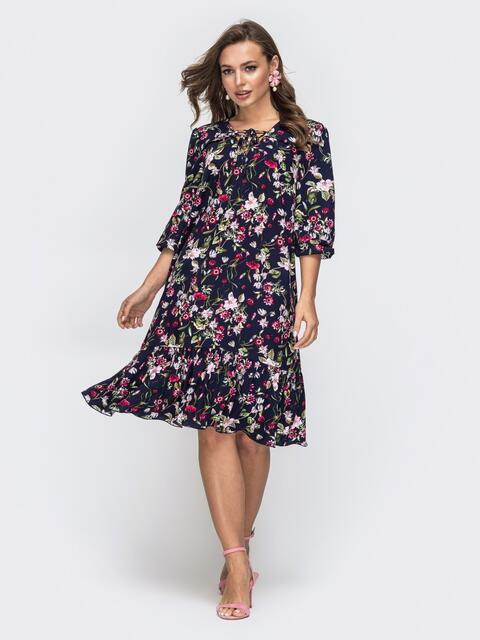 Тёмно-синее платье с принтом и завязками по горловине 45857, фото 1