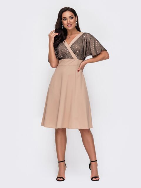 Бежевое платье батал с кокеткой из сетки и пайеток 52160, фото 1