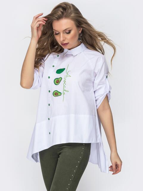 Хлопковая блузка с асимметричным низом белая 44882, фото 1