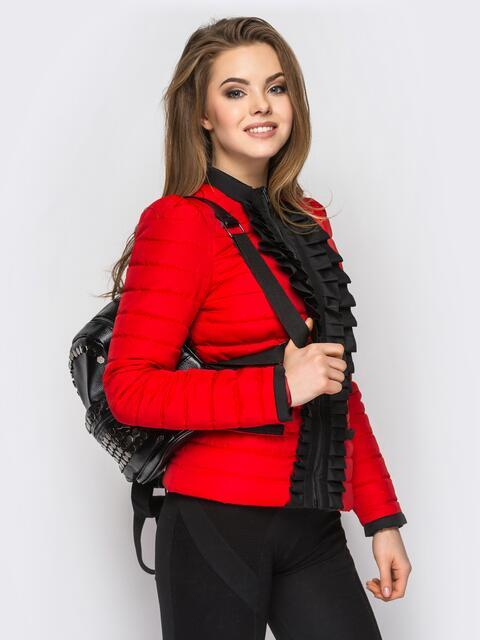 Красная куртка с контрастной рюшей на полочке 12939, фото 1